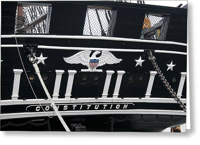 Slavery Ship Greeting Cards - American eagle on worlds greatest wooden warship Greeting Card by Brenda Kean
