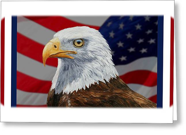 4th July Paintings Greeting Cards - American Eagle Phone Case Greeting Card by Crista Forest