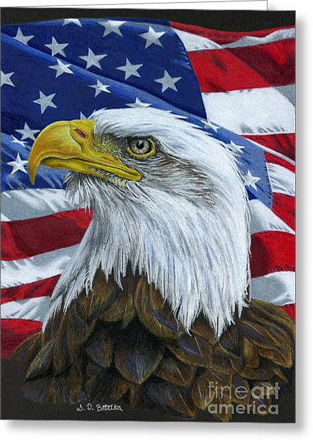 Drawing Color Pencils Drawings Greeting Cards - American Eagle Greeting Card by Sarah Batalka