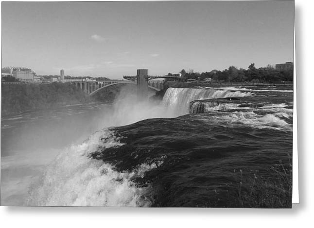 Ripples Of Black And White Greeting Cards - American Falls from Luna Island B n W Greeting Card by Richard Andrews