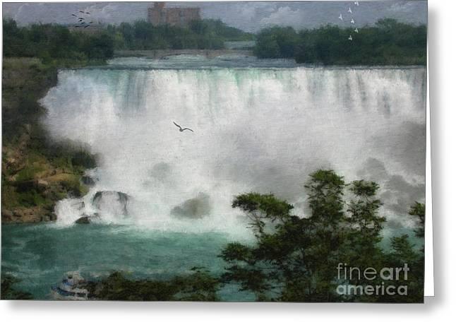Horseshoe Falls Greeting Cards - American Falls - Niagara Greeting Card by Lianne Schneider