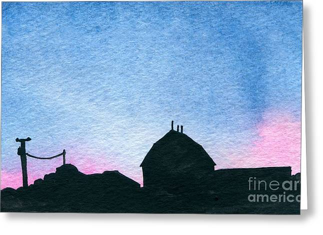 Indiana Scenes Paintings Greeting Cards - American Farm #1 Silhouette Greeting Card by R Kyllo