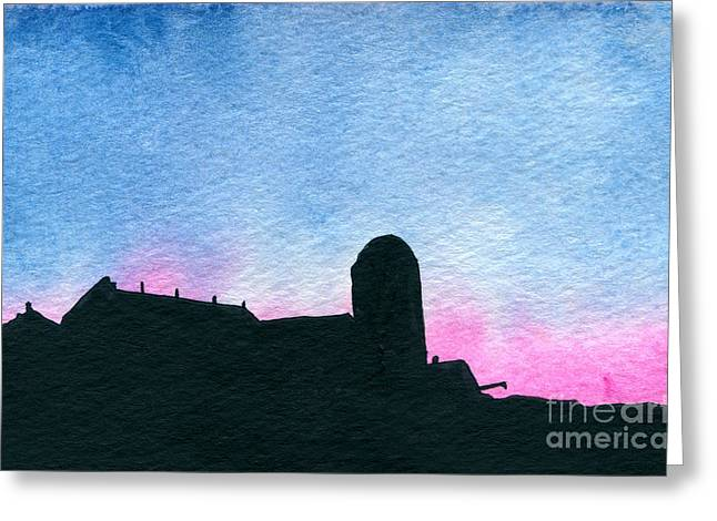 Indiana Scenes Paintings Greeting Cards - American Farm #2 Silhouette Greeting Card by R Kyllo