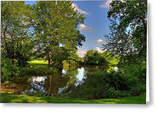 Verdant Greeting Cards - American Farm Pond Greeting Card by William Jobes