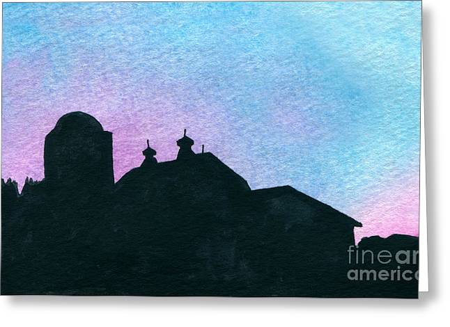 Indiana Scenes Paintings Greeting Cards - American Farm Silhouette #1 Greeting Card by R Kyllo