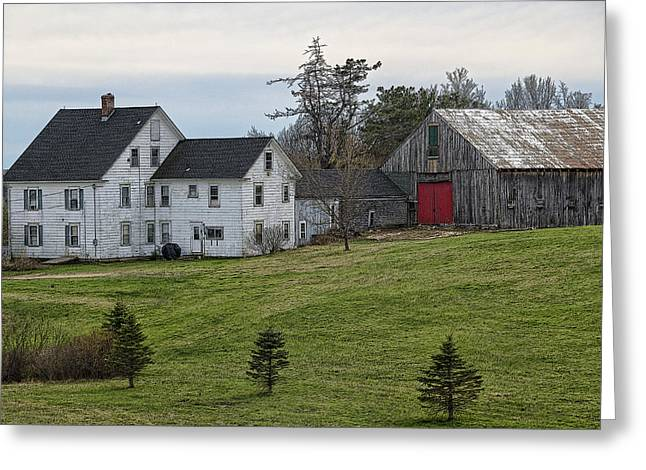 New England Village Greeting Cards - American Farmhouse Greeting Card by Donna Doherty