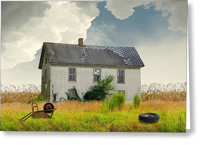 Cornfield Digital Art Greeting Cards - American Farmhouse Greeting Card by Matthew Schwartz