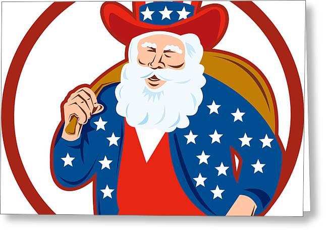 American Father Christmas Santa Claus Greeting Card by Aloysius Patrimonio