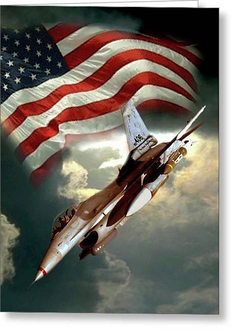 Jet Print Greeting Cards - American Feedom  Greeting Card by Gina Femrite