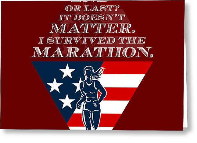 American Female Marathon Runner Retro Poster Greeting Card by Aloysius Patrimonio