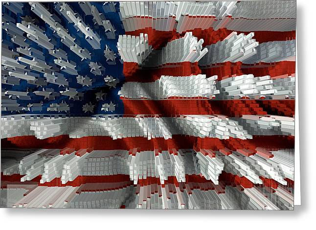 American Flag Abstract Greeting Card by Todd and candice Dailey