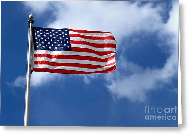 Star Greeting Cards - American Flag Greeting Card by Amy Cicconi