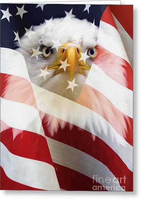Red White And Blue Digital Greeting Cards - American Flag and Bald Eagle Montage Greeting Card by Tim Gainey