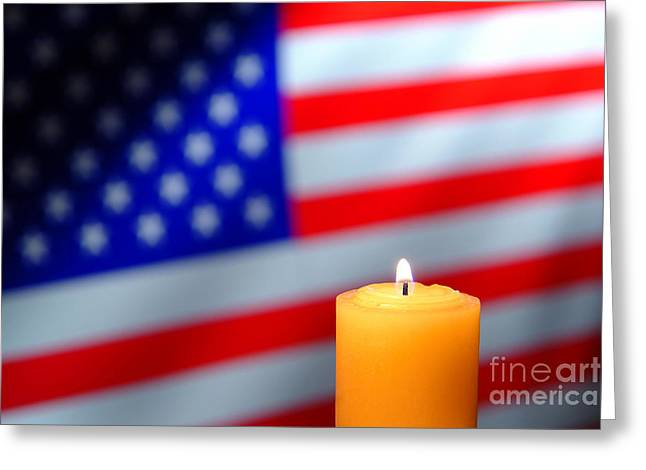 American Photographs Greeting Cards - American Flag and Candle Greeting Card by Olivier Le Queinec