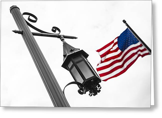 Flag Of Usa Greeting Cards - American Flag and Pole Greeting Card by John McGraw
