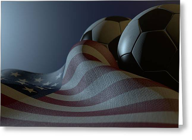 National Digital Art Greeting Cards - American Flag And Soccer Ball Greeting Card by Allan Swart