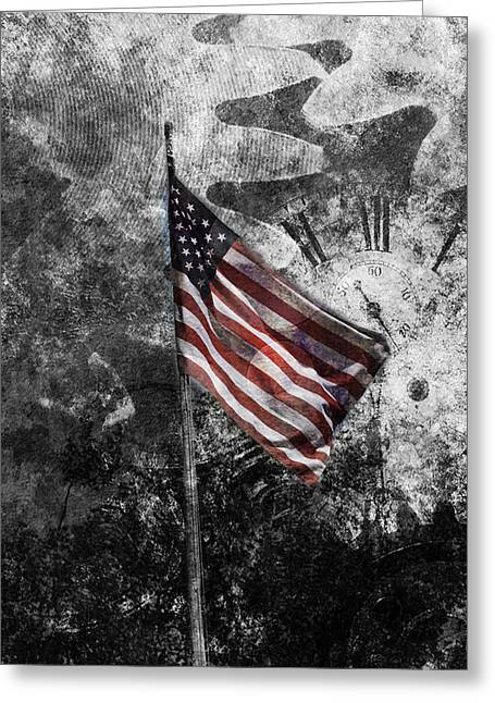 Glory Honor Greeting Cards - American flag and time Greeting Card by Toppart Sweden
