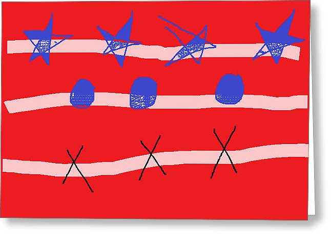 Flag Of Usa Drawings Greeting Cards - American Flag Greeting Card by Anita Dale Livaditis