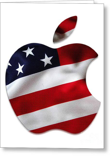 American Flag Apple Greeting Card by Marvin Blaine