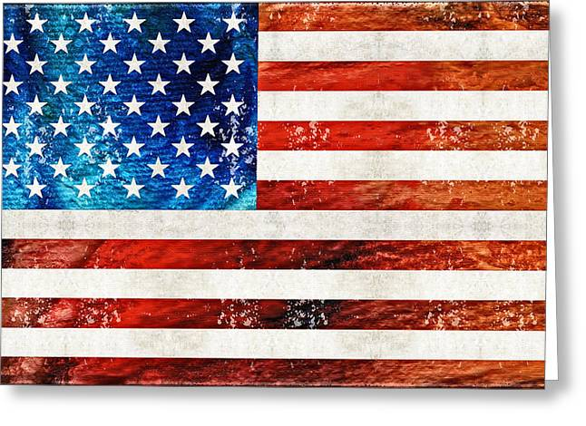 Tattered Greeting Cards - American Flag Art - Old Glory - By Sharon Cummings Greeting Card by Sharon Cummings