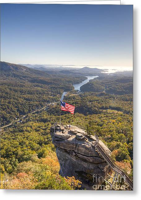 Chimney Rock North Carolina Greeting Cards - American Flag at Chimney Rock State Park North Carolina Greeting Card by Dustin K Ryan