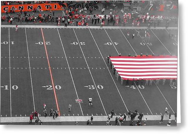 National Anthem Greeting Cards - American Flag At Paul Brown Stadium Greeting Card by Dan Sproul