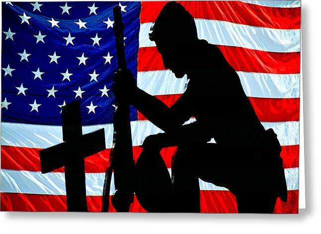 Terrorist Greeting Cards - A Time To Remember American Flag At Rest Greeting Card by Bob Orsillo