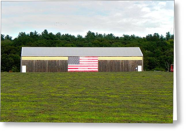 Concord Greeting Cards - American flag barn Greeting Card by Brian Mooney