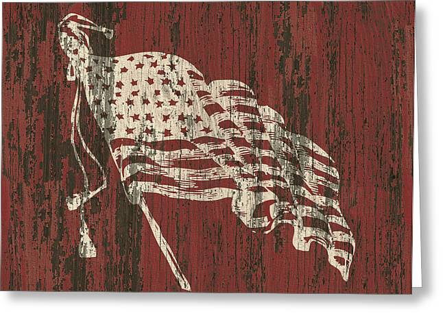American Flag Barn Greeting Card by Flo Karp