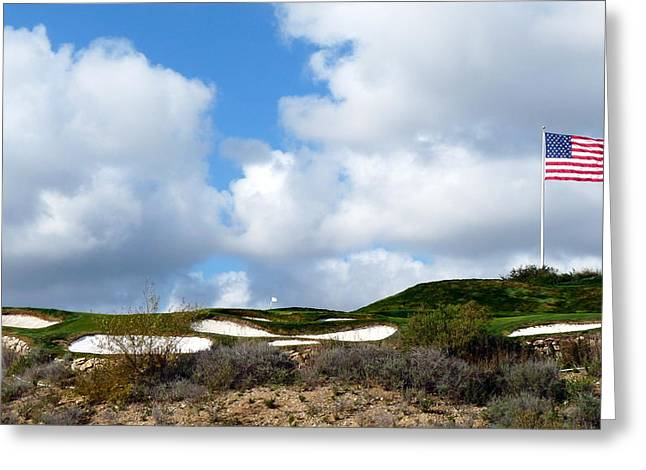 Trump Golf Course Greeting Cards - American Flag Blowing in the Wind Greeting Card by Jeff Lowe