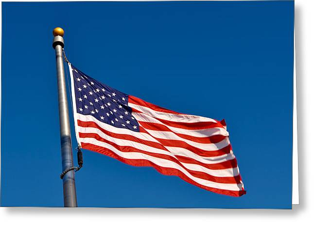 4th July Photographs Greeting Cards - American Flag Blowing in Wind Greeting Card by Brandon Bourdages