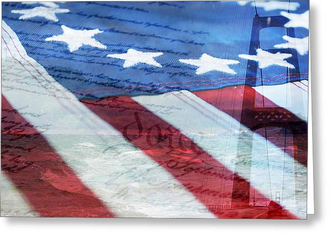Red White And Blue Digital Greeting Cards - American Flag Greeting Card by Christina Rollo
