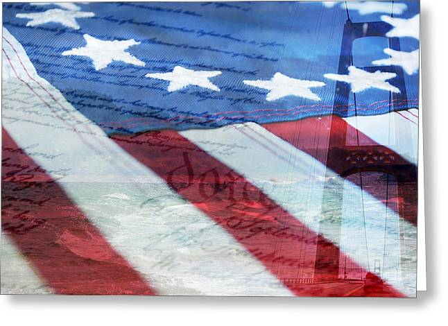 American Flag Greeting Card by Christina Rollo