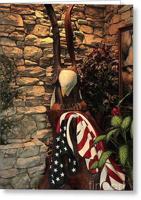 American Flag And Eagle Wood Carving Greeting Card by Marjorie Imbeau