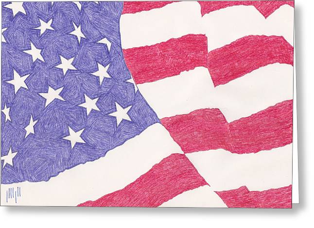Flag Of Usa Drawings Greeting Cards - American Flag Greeting Card by Eric Forster