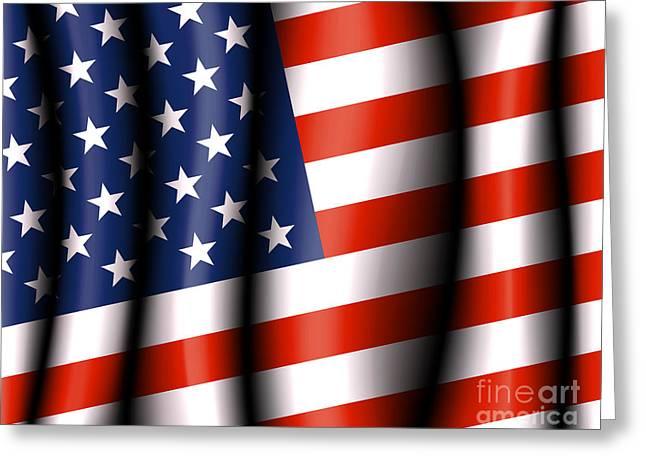 4th July Digital Art Greeting Cards - American Flag Greeting Card by Fenton Wylam