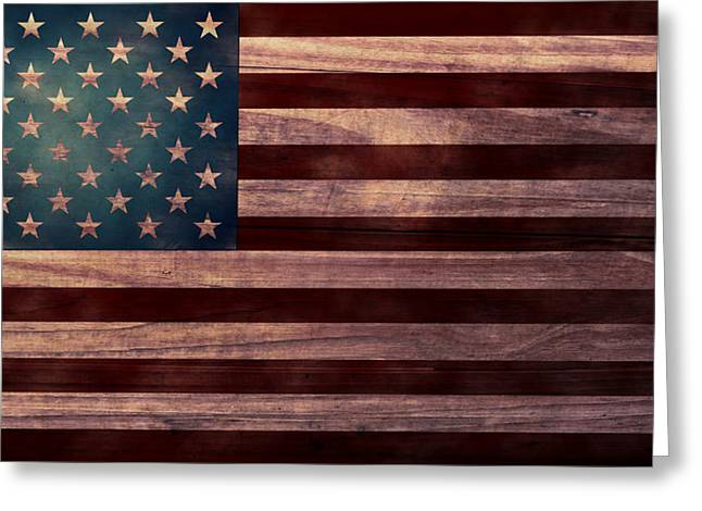 Rustic Digital Greeting Cards - American Flag I Greeting Card by April Moen