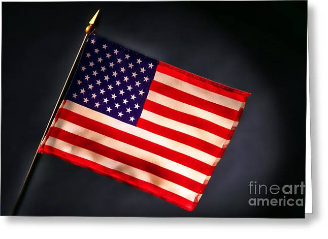 Smoky Greeting Cards - American Flag in Smoke Greeting Card by Olivier Le Queinec