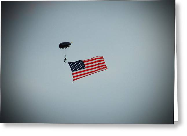 American Flag In The Sky Greeting Card by Aimee L Maher Photography and Art Visit ALMGallerydotcom