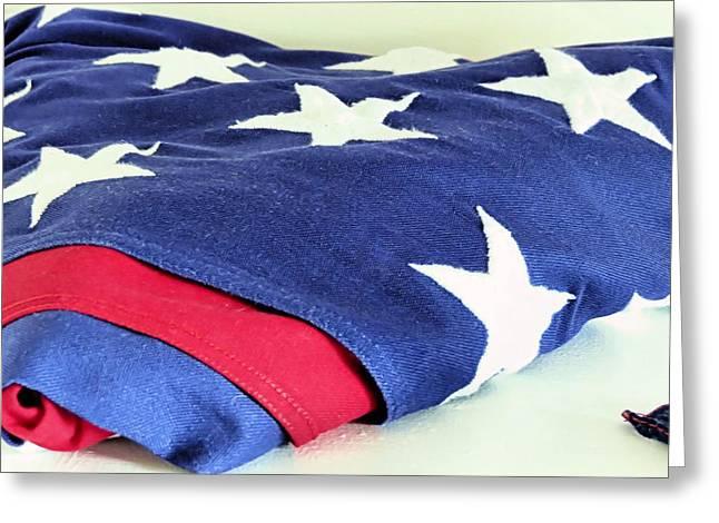 Gurnet Light Greeting Cards - American Flag Greeting Card by Janice Drew