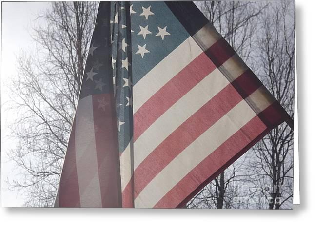American Flag Greeting Card by Jennifer Kimberly