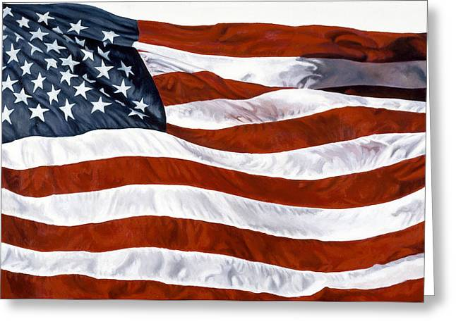 Zaccheo Greeting Cards - American Flag Greeting Card by John Zaccheo