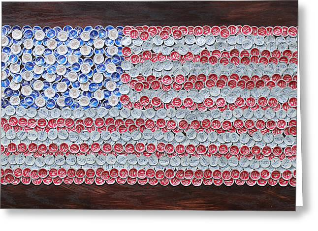 4th July Mixed Media Greeting Cards - American Flag Greeting Card by Kay Galloway