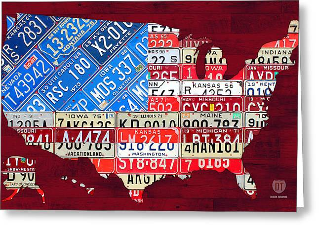 American Flag Map of the United States in Vintage License Plates Greeting Card by Design Turnpike