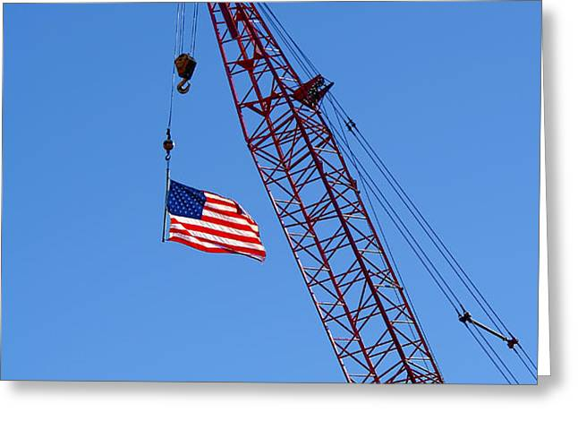 American Flag on Construction Crane Greeting Card by Olivier Le Queinec