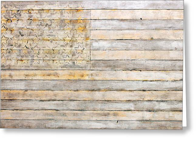 Landmarks Mixed Media Greeting Cards - American Flag on Distressed Wood Beams White Yellow Gray and Brown Flag Greeting Card by Design Turnpike