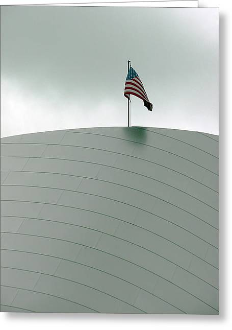 Mietko Greeting Cards - American flag on modern museum in LA Greeting Card by Mieczyslaw Rudek Mietko