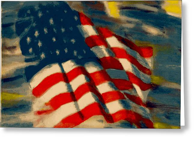 Usa Flag Pastels Greeting Cards - American Flag Greeting Card by Patrick McClellan