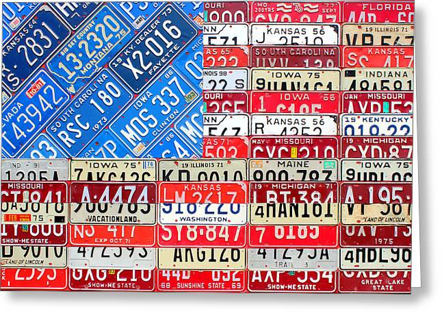 American Flags Greeting Cards - American Flag Recycled License Plate Art Greeting Card by Design Turnpike