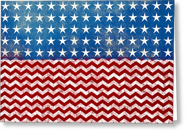 American Flag Red White Blue Greeting Card by Flo Karp